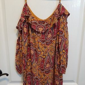 Hollister Paisley Cold Shoulder Dress